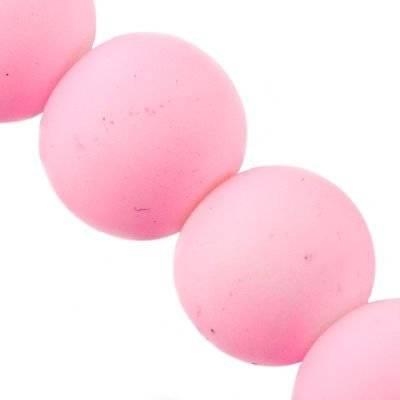 stiklo karoliukų gumos dengtos różowe 14 mm,