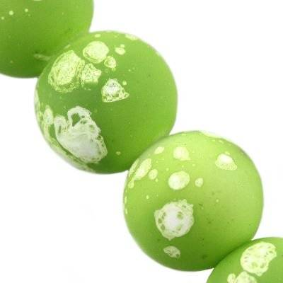 glass beads rubber coated galactic green 10 mm