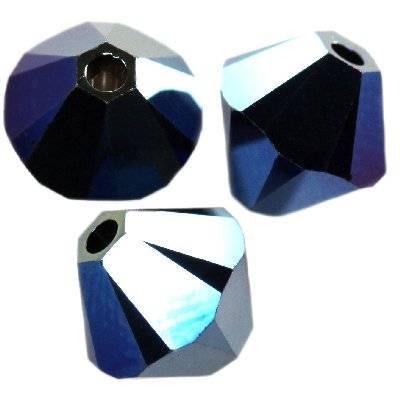 Swarovski bicone beads crystal metallic blue 2x 6 mm