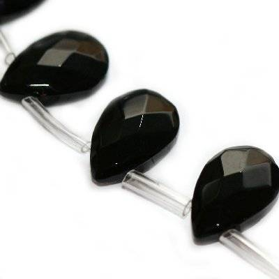 glass beads teardrop flat faceted handcut black 12 x 18 mm