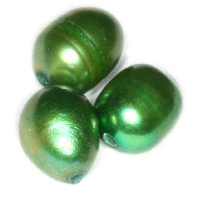 freshwater pearls 4 x 6 mm green