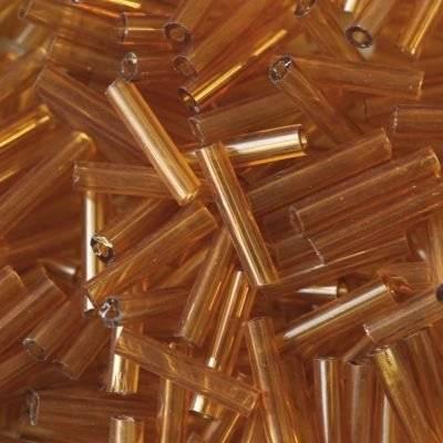 Tubes en perles de verre brun 9 mm