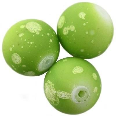 Perles de verre vert galactique revêtu de caoutchouc de 12 mm