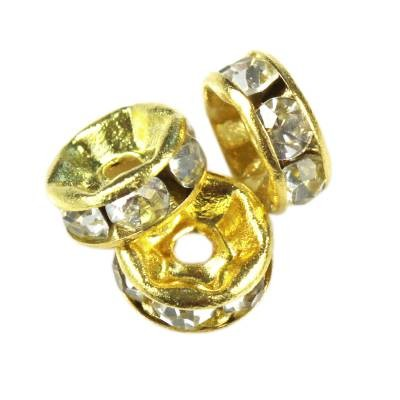 SparkleRings™ gold white 6 mm rondelles strass cristal perles intercalaires