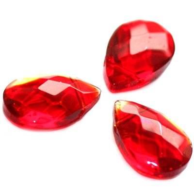 łezki szlifowane czerwone 12 x 18 mm