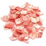 konkylier firkanter riller afskårne rosa 0,8-1,5 cm
