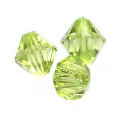 plastic bicone beads green 6 mm