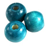 round wooden beads turquoise 13 x 14 mm