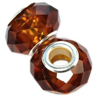modular beads crystal cognac 10 x 14 mm