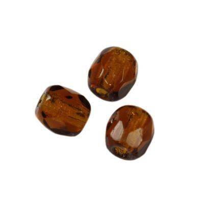 Czech Fire Polished beads 3mm round brown