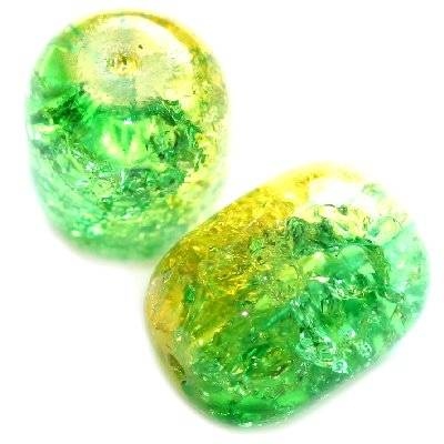 crackle beads ovals green 12 x 16 mm