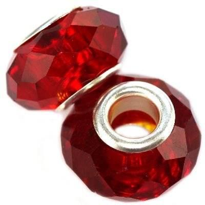 modular beads crystal ruby 10 x 14 mm