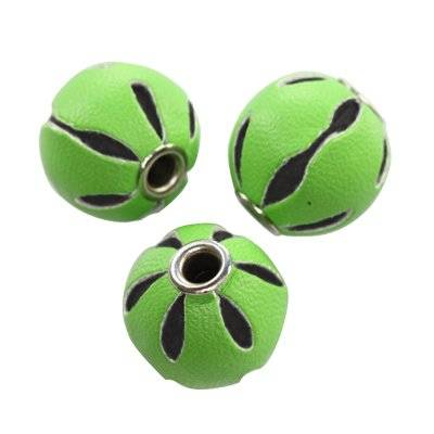 leather packed beads round green 14 mm