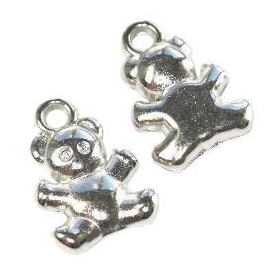 bears silver plastic beads 14,5 x 10 mm