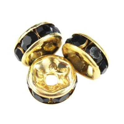 SparkleRings™ gold black 6 mm rondelles strass cristal perles intercalaires