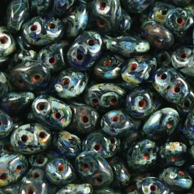 Perles SuperDuo 2,5 x 5 mm cobalt travertin dark / Tchèque Perles 2 trous