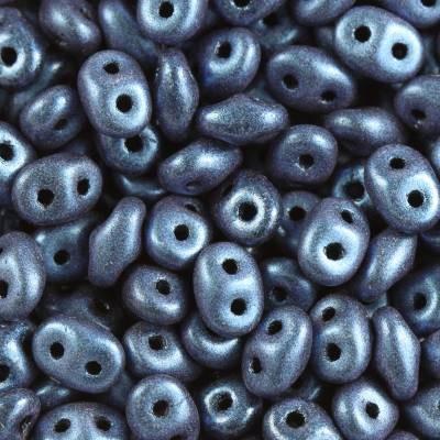 Koraliki SuperDuo metallic mat blue 2,5 x 5 mm / koraliki dwudziurkowe