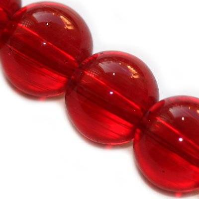 glass beads red 12 mm