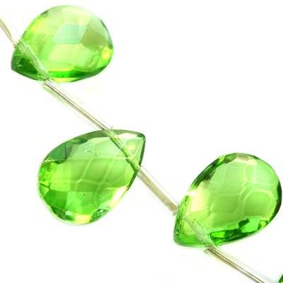 glass beads teardrop crystals flat faceted handcut green 12 x 18 mm