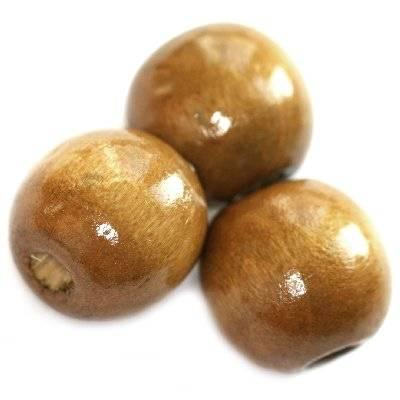 koraliki drewniane kule jasno-brązowe 13 x 14 mm