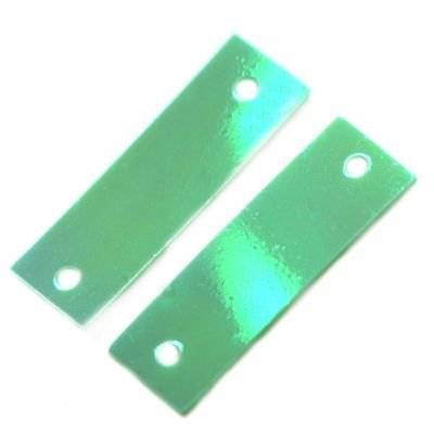 sequins cream - rainbow rectangles green 6 x 19 mm