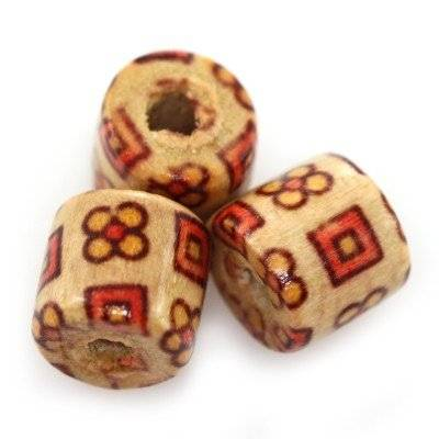 barrels wooden beads squares and flowers 9 x 10 mm