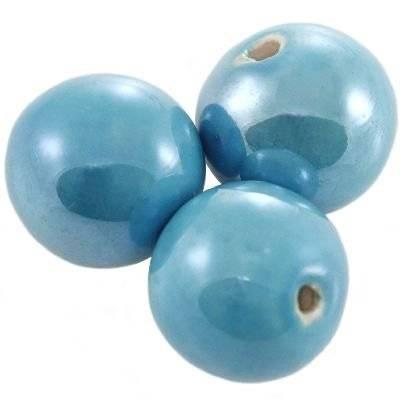 boules en porcelaine brillantes azurées 18 mm