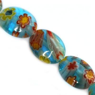 ovals turquoise millefiori flowers 10 x 8 mm