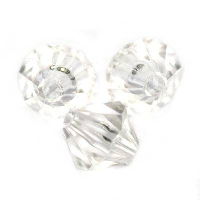plastic bicone beads transparent 8 mm