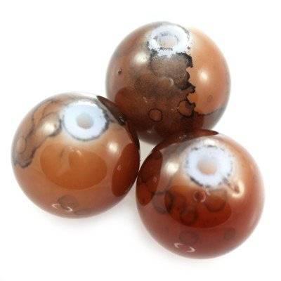 Perles de verre brun 8 mm