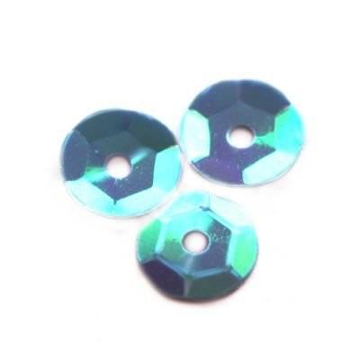 cekiny kremowo - tęczowe koła łamane błękitne 8 mm