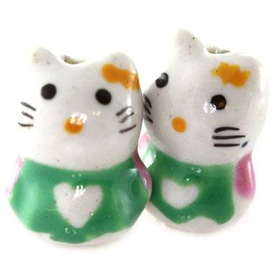 chatons en porcelaine verts 13 x 18 mm