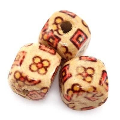 koraliki drewniane kostki kwadraty i kwiaty 9 mm