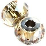 Swarovski becharmed briolette beads crystal golden shadow steel 14 mm