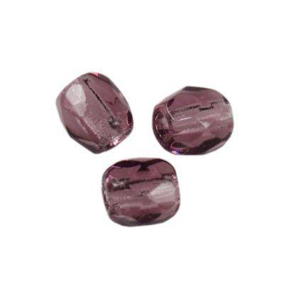 Czech Fire Polished beads 3mm round amethyst