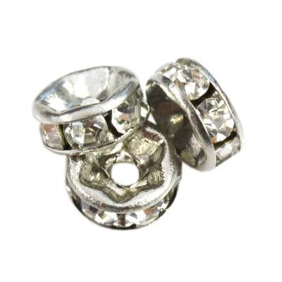 SparkleRings™ rhodium white 6 mm rondelles strass cristal perles intercalaires