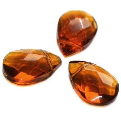 glass beads teardrop crystals flat faceted handcut brown 12 x 18 mm