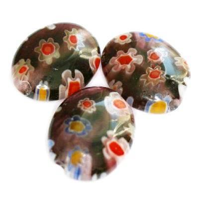 owale ametystowe millefiori kwiatki 10 x 8 mm / koraliki szklane
