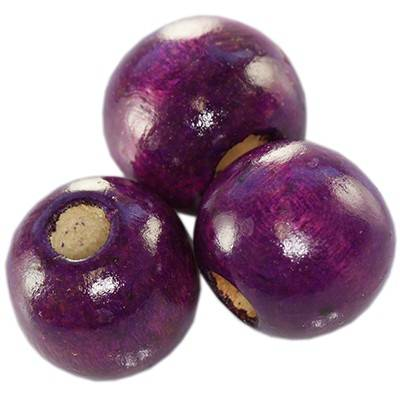 round wooden beads amethystine 13 x 14 mm