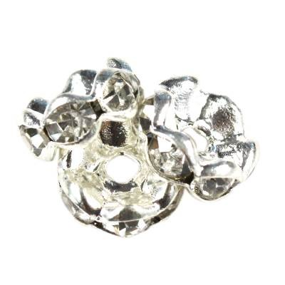 SparkleRings™ fale kolor srebrny białe 8 mm przekładki jubilerskie rhinestone