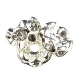SparkleRings™ wave silver white 8 mm rondelles strass cristal perles intercalaires