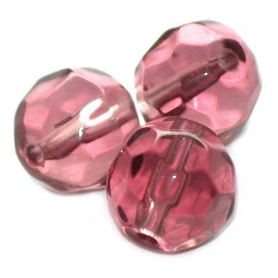 kryształki okrągłe ametystowe 6 mm / koraliki szklane
