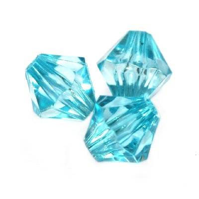 plastic bicone beads blue 8 mm