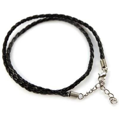 necklace woven leather cord black