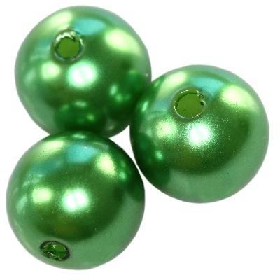 plastic pearls green 12 mm