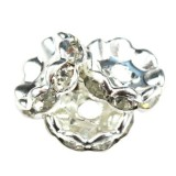 SparkleRings™ wave silver white 10 mm rondelles strass cristal perles intercalaires
