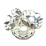 SparkleRings™ fale kolor srebrny białe 10 mm przekładki jubilerskie rhinestone
