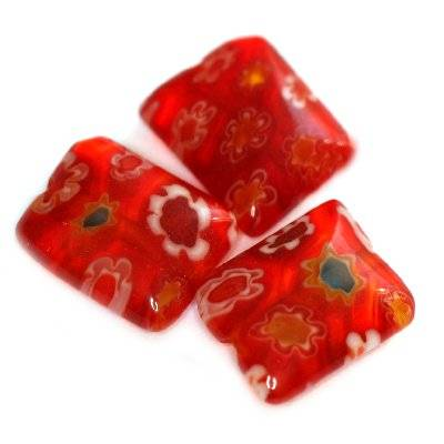rectangles red millefiori flowers 10 x 8 mm