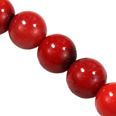 round beads red coral 6 mm
