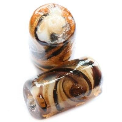 Lampwork Meeresbrise zylindrisch braun 17 x 10 mm